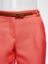 Брюки из фактурной ткани с ремнем oodji #SECTION_NAME# (красный), 21714019-3/46742/4300N - вид 4
