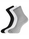 Комплект хлопковых носков в полоску (3 пары) oodji #SECTION_NAME# (разноцветный), 57102813T3/48022/7 - вид 2