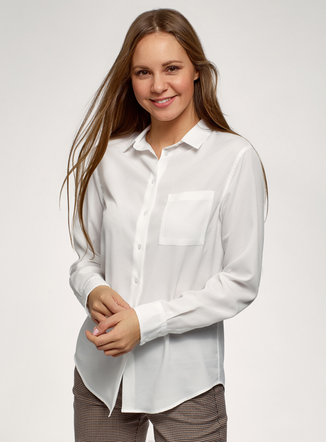 Блузка прямого силуэта с нагрудным карманом oodji для женщины (белый), 11411134-1B/46123/1200N