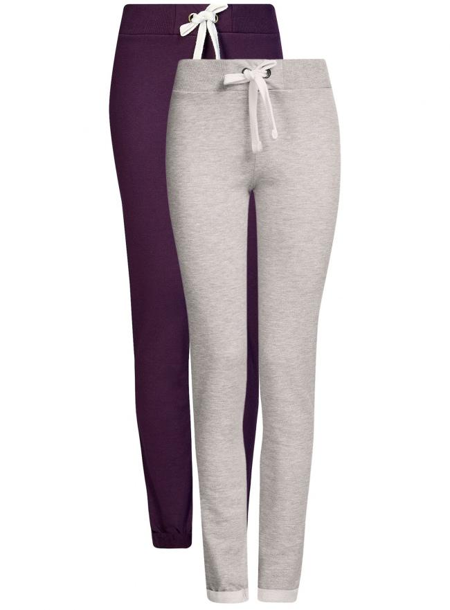 Комплект спортивных брюк (2 пары) oodji для женщины (серый), 16701010T2/46980/2388N