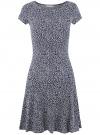 Платье трикотажное с воланами oodji #SECTION_NAME# (разноцветный), 14011017/46384/1079F