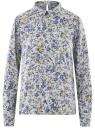 Блузка прямого силуэта с отложным воротником oodji #SECTION_NAME# (синий), 11411181/43414/7050F
