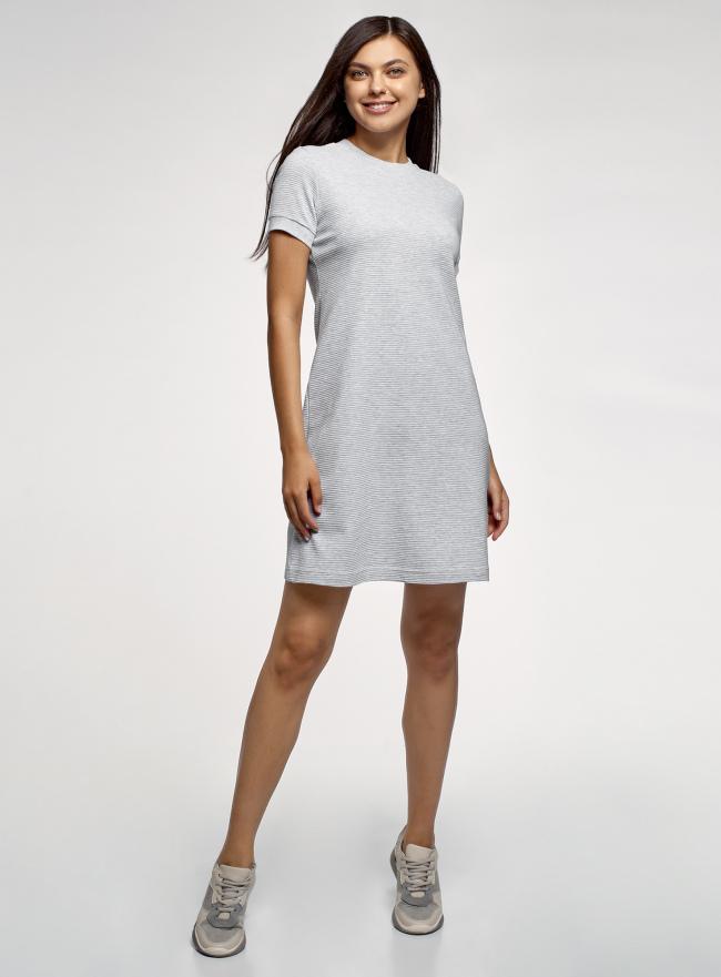Платье трикотажное свободного силуэта oodji для женщины (серый), 14000162-12/49934/2009M