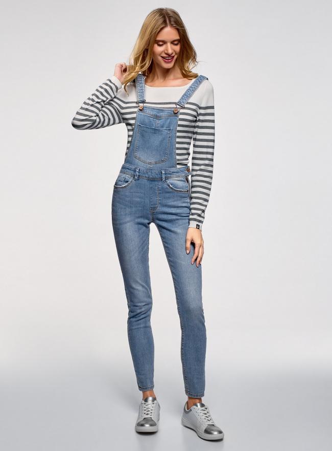 Комбинезон джинсовый с нагрудным карманом oodji #SECTION_NAME# (синий), 13108004/45379/7500W