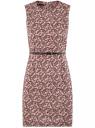 Платье приталенное без рукавов oodji для женщины (розовый), 12C00002B/14522/4A29E