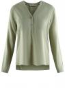 Блузка принтованная из вискозы oodji #SECTION_NAME# (зеленый), 11411049-1/24681/6000N
