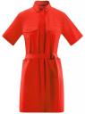 Платье-рубашка с карманами oodji #SECTION_NAME# (красный), 11909002/33113/4500N