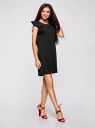 Платье с рукавами-крылышками и украшением на горловине oodji для женщины (черный), 21909002/42720/2900N