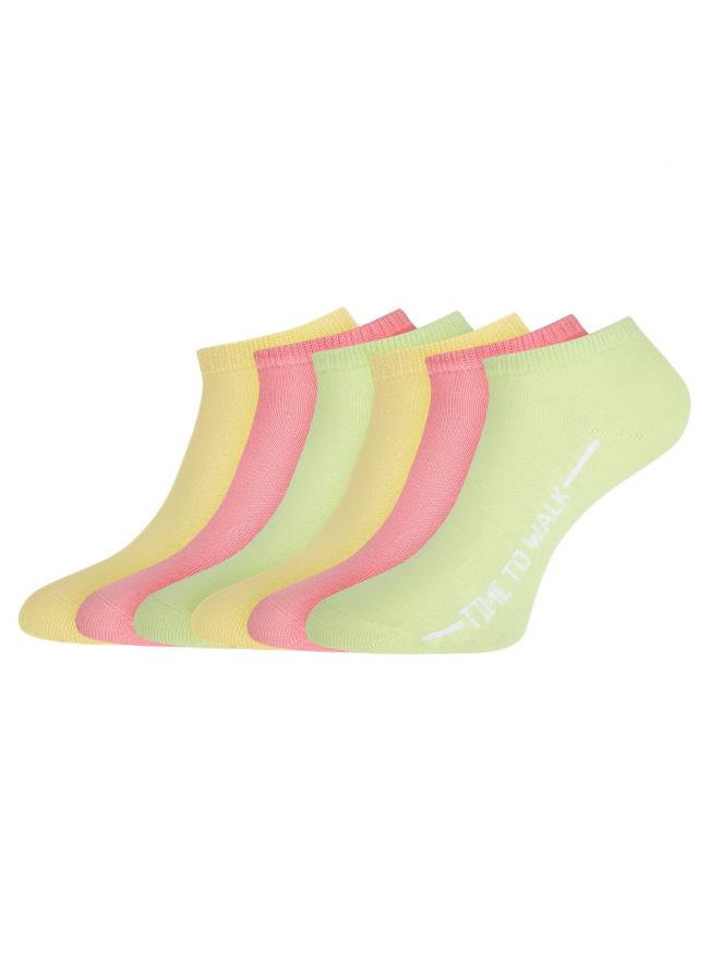 Комплект укороченных носков (6 пар) oodji для женщины (разноцветный), 57102433T6/47469/61