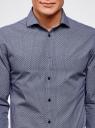 Рубашка хлопковая в мелкую графику oodji #SECTION_NAME# (синий), 3L110288M/19370N/1079G - вид 4