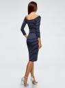Платье облегающее с вырезом-лодочкой oodji для женщины (синий), 14017001-1/37809/7912S