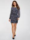 Платье из шифона с ремнем oodji для женщины (синий), 11900150-5/13632/7912E - вид 2