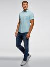 Рубашка с нагрудными карманами и надписью на спине oodji #SECTION_NAME# (бирюзовый), 3L410103M/46563N/7300N - вид 6