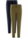 Комплект трикотажных брюк (2 пары) oodji #SECTION_NAME# (разноцветный), 16700030-15T2/46173/19VVN