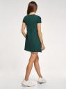 Платье А-образного силуэта в рубчик oodji #SECTION_NAME# (зеленый), 14000157/45997/6900N - вид 3
