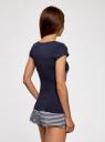 Пижама с шортами и принтом на груди oodji #SECTION_NAME# (синий), 56002188/46147/7940P - вид 3