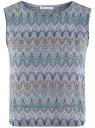 Топ из фактурной ткани с этническим узором oodji #SECTION_NAME# (фиолетовый), 15F05004/45509/8030E