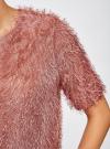 Блузка ворсистая с вырезом-капелькой на спине oodji #SECTION_NAME# (розовый), 14701049/46105/4A00N - вид 5