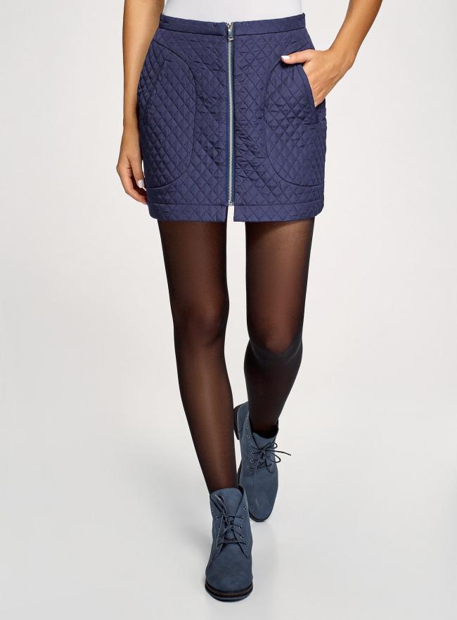 Юбка из фактурной ткани с молнией спереди oodji для женщины (синий), 11600410/38325/7900N
