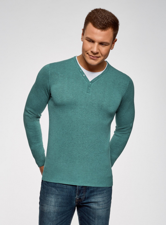 Пуловер с хлопковой вставкой на груди oodji #SECTION_NAME# (зеленый), 4B212006M/39245N/6D00B
