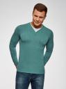 Пуловер с хлопковой вставкой на груди oodji #SECTION_NAME# (зеленый), 4B212006M/39245N/6D00B - вид 2