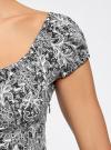 Платье хлопковое со сборками на груди oodji #SECTION_NAME# (серый), 11902047-2B/14885/7912L - вид 5