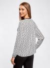 Блузка из струящейся ткани с контрастной отделкой oodji #SECTION_NAME# (белый), 11411059B/43414/1229G - вид 3