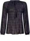 Блузка гофрированная с завязками oodji #SECTION_NAME# (черный), 11414005/46166/2973F
