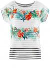 Блузка комбинированная с принтом oodji #SECTION_NAME# (белый), 21400311-6/15018/1019F