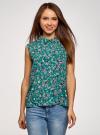 Топ базовый из струящейся ткани oodji для женщины (зеленый), 14911006-2B/43414/6C19F - вид 2