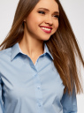 Блузка хлопковая с рукавом 3/4 oodji для женщины (синий), 13K03005B/26357/7000B