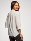 Блузка вискозная с регулировкой длины рукава oodji #SECTION_NAME# (белый), 11403225-9B/48458/1200N - вид 3