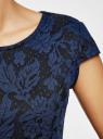 Платье облегающего силуэта из фактурной ткани oodji для женщины (синий), 14001139-3/43631/2975F