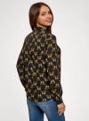 Блузка принтованная из шифона oodji #SECTION_NAME# (черный), 11400394-5/36215/2935U - вид 3