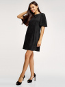 Платье из искусственной замши свободного силуэта oodji для женщины (черный), 18L11001/45622/2900N
