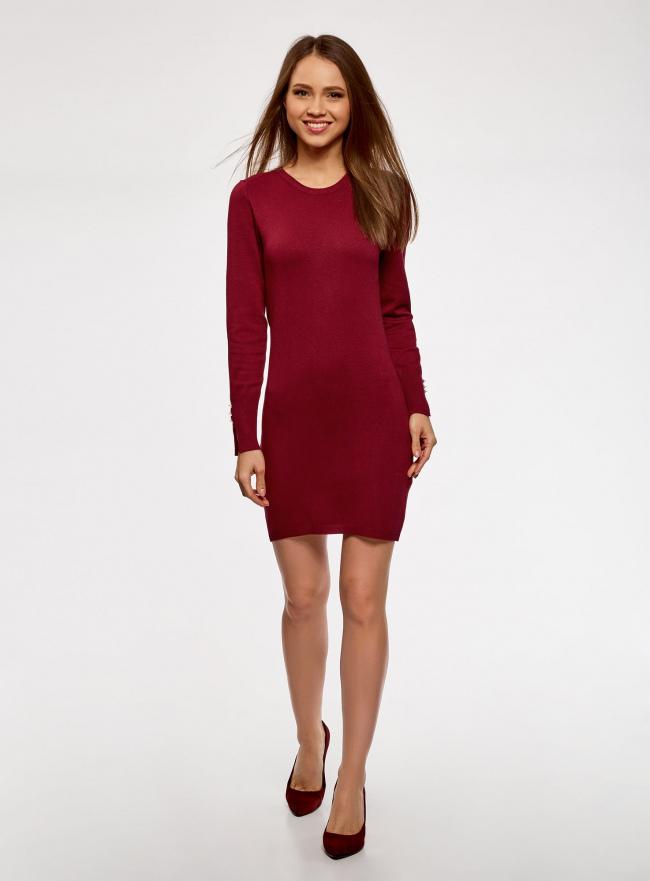Платье базовое из вискозы с пуговицами на рукаве oodji для женщины (красный), 73912217-1B/33506/4900N
