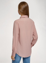 Блузка прямого силуэта с нагрудным карманом oodji для женщины (розовый), 11411134-1B/46123/4A01N
