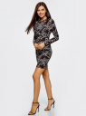 Платье трикотажное облегающего силуэта oodji #SECTION_NAME# (черный), 14000171/46148/2930O - вид 6