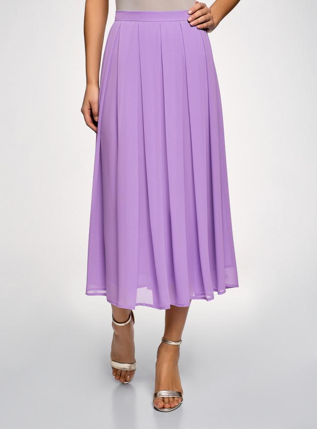 Юбка в складку из струящейся ткани oodji для женщины (фиолетовый), 23G00009-2B/45193/8001N