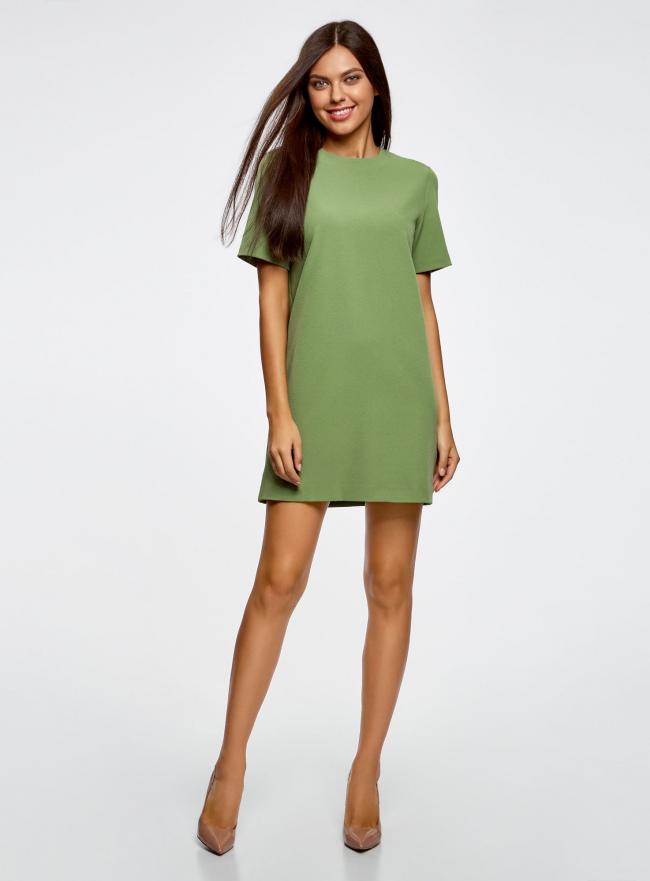 Платье из плотной ткани с молнией на спине oodji для женщины (зеленый), 21910002/42354/6200N