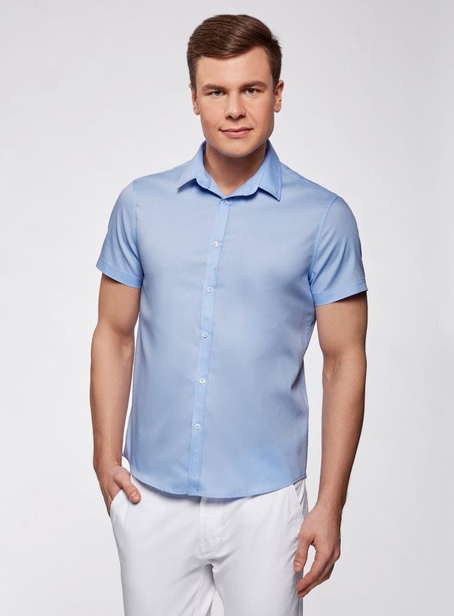 Рубашка приталенная с коротким рукавом oodji для мужчины (синий), 3B210008M/46236N/7000N