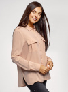 Блузка вискозная с нагрудными карманами oodji #SECTION_NAME# (розовый), 11411127-1B/42807/4B00N - вид 2