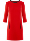 Платье из плотной ткани с отделкой из искусственной кожи oodji #SECTION_NAME# (красный), 11902145-1/38248/4500N
