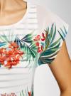 Блузка комбинированная с принтом oodji #SECTION_NAME# (белый), 21400311-6/15018/1019F - вид 5