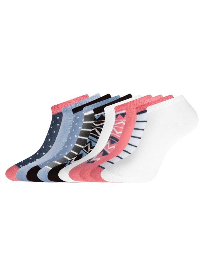 Комплект укороченных носков (10 пар) oodji для женщины (разноцветный), 57102433T10/47469/21