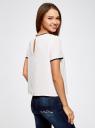 Блузка с коротким рукавом и контрастной отделкой oodji #SECTION_NAME# (белый), 11401254/42405/1200N - вид 3