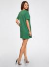 Платье из фактурной ткани прямого силуэта oodji #SECTION_NAME# (зеленый), 24001110-3/42316/6E00N - вид 3