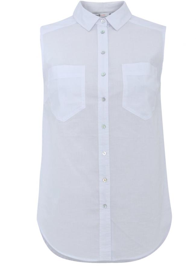 Топ базовый хлопковый oodji для женщины (белый), 11401250B/45510/1000N