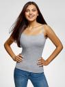 Топ трикотажный на тонких бретелях oodji для женщины (серый), 14305023-1B/46147/2001M