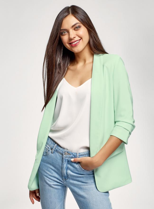 Жакет без застежки с рукавом 3/4 oodji для женщины (зеленый), 11207010-2B/18600/6500N